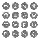 Shopping cart web icons, grey circle buttons