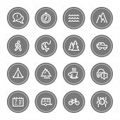 Travel web icon set 3, grey circle buttons