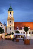 BRATISLAVA, SLOVAKIA - JUNE 25, 2014: Bell tower end cathedral on Main Square in Bratislava
