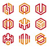 Abstract hexagon shaped vector design elements 3, red and orange