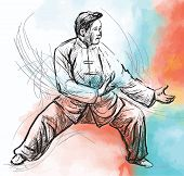Taiji (tai Chi). An Hand Drawn Illustration Converted Into Vector