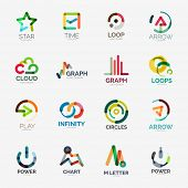 Abstract company logo vector collection - 16 line style business corporate logotypes