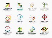 Collection of 12 arrow company logotypes, business symbols, icons, concepts