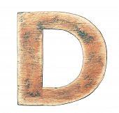 Painted wood alphabet, letter D