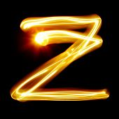 Z - Created by light alphabet over black background