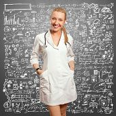 young doctor woman with stethoscope against white background