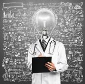 Lamp Head Doctor man with stethoscope against different backgrounds