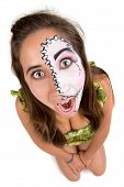 foto of face painting  - Beautiful young girl portrait with face painting - JPG