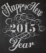 Happy New Year Chalkboard Poster - Blackboard with New Year greeting, typography art