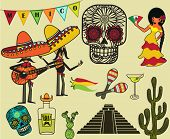 Mexico Clip Art and Symbols - Cartoon style illustration of Mexican symbols, including Mariachi band