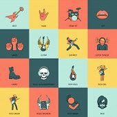 Rock Music Icons Flat Line