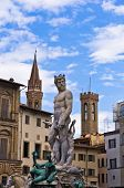 Neptune statue on Signoria square in front of Vecchio palace in Florence