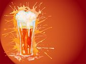 Watercolor glass of beer on the vinous background
