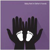 Baby Feet In Mother's Hands.