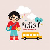 Fun kids back to school boy illustration and school bus template postcard cover design in vector