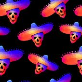 Seamless background with skull in sombrero