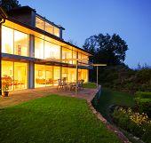 Modern villa in the night, veranda