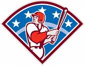 pic of hitter  - Illustration of a american baseball player batter hitter looking up holding bat ready to hit set inside diamond shape with stars and stripes in the background done in retro style - JPG