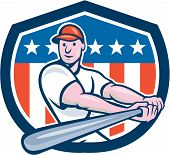 stock photo of hitter  - Illustration of an american baseball player batter hitter batting with bat set inside shield crest with stars and stripes flag in the background done in cartoon style - JPG