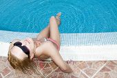 Blonde At Swimming Pool
