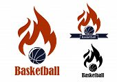 image of basketball  - Basketball sport emblems with basketball ball - JPG