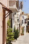 Traditional Greek Street In Rethymno. Crete. Greece