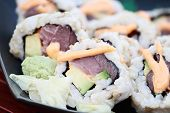 image of extreme close-up  - Close up of tuna sushi with extreme shallow depth of field - JPG