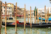 Gondola On The Grand Canal Berth In Venice, Italy