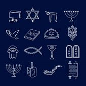 image of religious  - Jewish church traditional religious symbols outline icons set isolated vector illustration - JPG