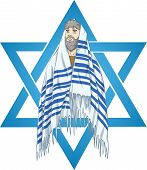 pic of rabbi  - Vector illustration of Rabbi with talit and star of david - JPG