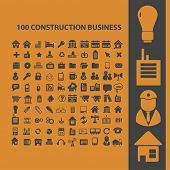 100 construction, real estate isolated icons, signs, illustrations, silhouettes, vectors set