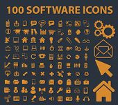 application, software interface isolated icons, signs, vectors, illustrations, silhouettes set, vect