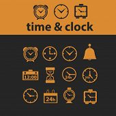 time, clock isolated icons, signs, vectors, illustrations, silhouettes set, vector