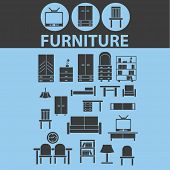 furniture, interior design, room design, decoration isolated icons, signs, vectors, illustrations, silhouettes set, vector