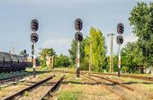 image of boxcar  - Freight wagons stationing in the train station in the afternoon - JPG
