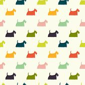picture of scottish terrier  - Seamless pattern with colorful dog silhouettes on polka dot background - JPG