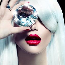 image of big-girls  - High fashion portrait of beauty model girl with a big diamond - JPG