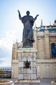 Pope John Paul Ii Statue And Cathedral Almudena On A Spring Day In Madrid