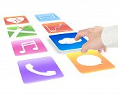 Hand Pointing At Cloud Computing With Colorful App Icons