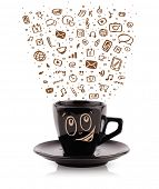 Coffee-mug with hand drawn media icons, isolated on white