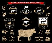 Vector Beef Labels, Charts and Design Elements