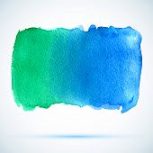watercolor green and blue background banner with shadow