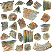 vector set of colored pencils scribbles