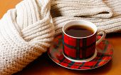 Cup Of Hot Tea And Scarf