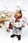 Vintage Figurine: French Chef, Rolling Pin, Baking Cup With Flour And Sugar