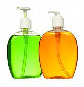 Closed Cosmetic Or Hygiene Blue Plastic Bottle Of Gel, Liquid Soap, Lotion, Cream, Shampoo. Isolated