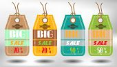 Set of four colorful, hanging stickers with text Big Sale
