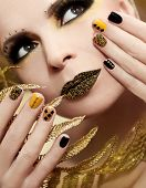 Caviar manicure and makeup.