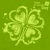 Four Leaf Clover Grunge On Green