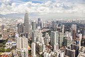 pic of petronas twin towers  - Skyline of Kuala Lumpur city in Malaysia - JPG